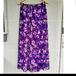 FOREVER 21 Boho Chiffon Purple Hawaiian Maxi Skirt